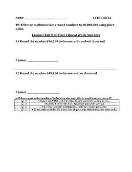 Grade 5 Unit 1 Place Value of Whole Numbers and Decimals Exit Slips Bundle