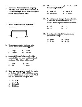 Grade 5 - Unit Test for Measurement
