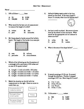 Grade 5 - Unit Test for Measurement