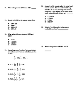 Grade 5 - Unit test on decimals