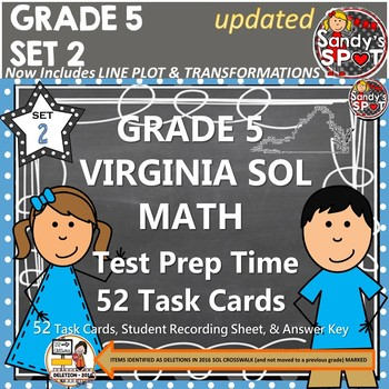 Grade 5 VIRGINA SOL MATH TASK CARDS SET 2 TEST PREP