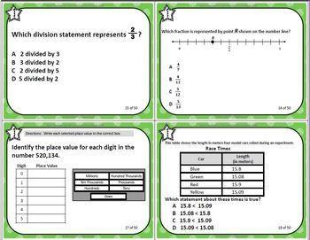 Grade 5 VIRGINA SOL MATH TASK CARDS SET 3 TEST PREP