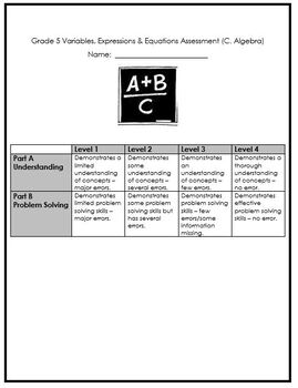 Grade 5 Variables, Expressions & Equality Quiz