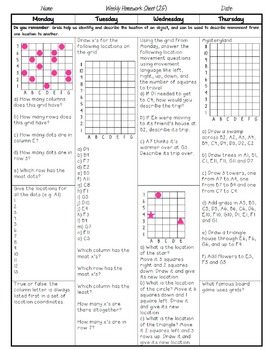 Grade 5 Weekly Math Homework Data Management