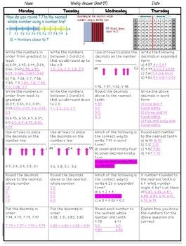 Grade 5 Weekly Math Homework Grids