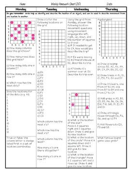 Grade 5 Weekly Math Homework Patterning