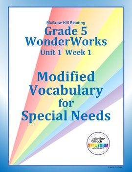 Grade 5 WonderWorks Unit 1 Week 1 Modified Vocabulary for Special Needs
