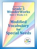 Grade 5 WonderWorks Unit 1 Weeks 1-5 Modified Vocabulary f