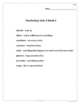 Grade 5 WonderWorks Unit 4 Weeks 1-5 Modified Vocabulary for Special Needs