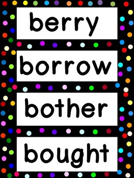 Grade 5 Word Wall Words - Colorful Polka dots on Black Frame