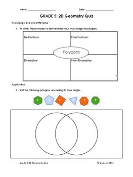 Grade 5 and 6 2D Geometry Math Quiz/Test BUNDLE (4 in total)