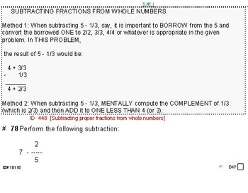 Grade 5 FRACTIONS UNIT 3: [Subtract w/different denoms]-4 worksheets, 7 quizzes