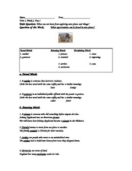 Grade 5/Reading Street/Unit 1, Week 2, Day 1-Day 5
