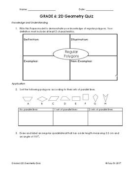Grade 6 2D Geometry Quiz/Test Version 1 (At Grade Level)