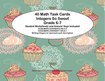 "Grade 6-7 ""Integers So Sweet"" 40 Math Task Cards CCSS"