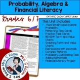Grade 6/7 Probability, Algebra Financial Unit 8 (Ontario Math Curriculum 2020)