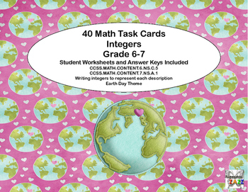 Grade 6-7 Writing Integers  40 Math Task Cards CCSS-Earth