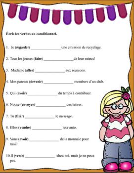 Grade 6 - 8 French Bell Work: Écris les verbes au conditionnel.