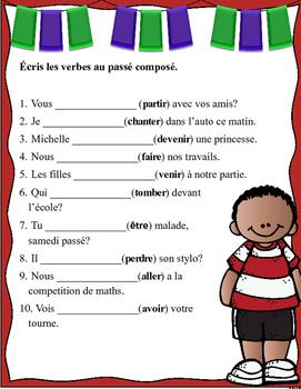 Grade 6 - 8 French Bell Work: Écris les verbes au passé composé.