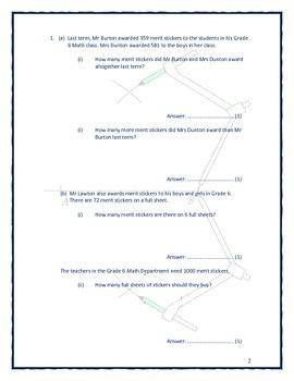 Grade 6 - 8 Test Paper 1