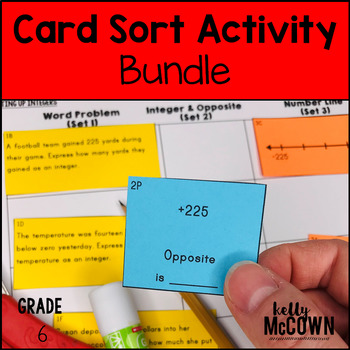 6th Grade Math Card Sort Activity Lessons and Cut & Paste Activities BUNDLE
