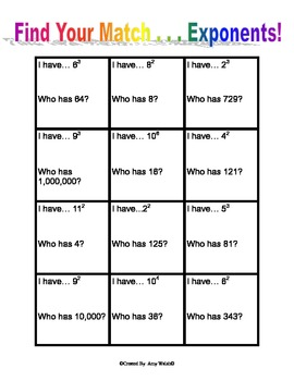 Grade 6 Activity - Find Your Match - Exponents