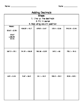 Grade 6: Adding Decimals