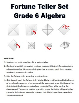 Grade 6 Algebra Fortune Tellers