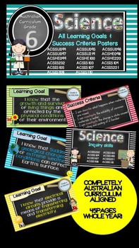 Grade 6 All SCIENCE Learning Goals/success criteria posters Aust Curric.