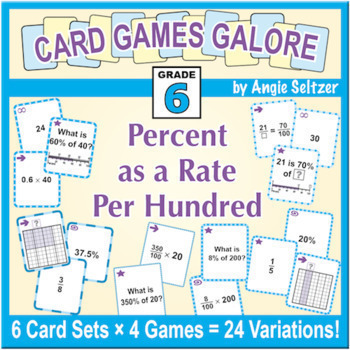 Percent as a Rate Per Hundred: Grade 6 MATH CARD GAMES GALORE BUNDLE