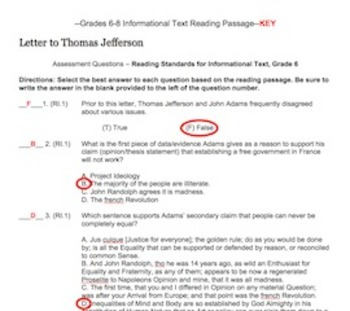 Grade 6 CCSS Aligned Informational Text and Assessment Practice