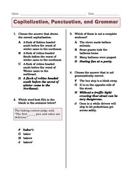 Grade 6 CCSS Language: Grammar, Spelling, Punctuation, Capitalization Practice 1