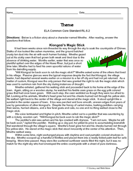 Grade 6 Common Core Assessments: Theme RL.6.2