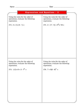 Grade 6 Common Core: Expressions and Equations Math Worksheet 2.2