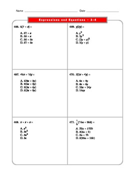 Grade 6 Common Core: Expressions and Equations Math Worksheet 3.4_4.4