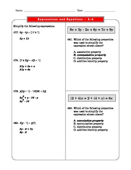 Grade 6 Common Core: Expressions and Equations Math Worksheet 3.5_4.5