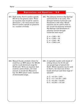 Grade 6 Common Core: Expressions and Equations Math Worksheet 5-6.2