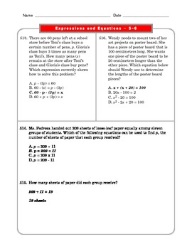 Grade 6 Common Core: Expressions and Equations Math Worksheet 5-6.4