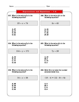 Grade 6 Common Core: Expressions and Equations Math Worksheet 7-8.1