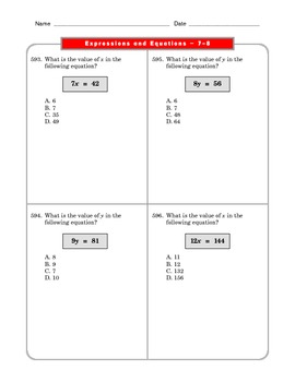 Grade 6 Common Core: Expressions and Equations Math Worksheet 7-8.4