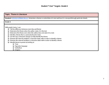 """Grade 6 Common Core """"I Can"""" Statements for Reading"""