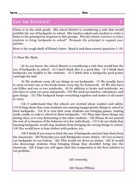 Grade 6 Common Core Language: Editing & Revising Practice #1