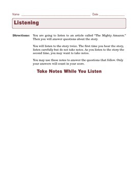 Grade 6 Common Core Listening Practice -- The Mighty Amazon