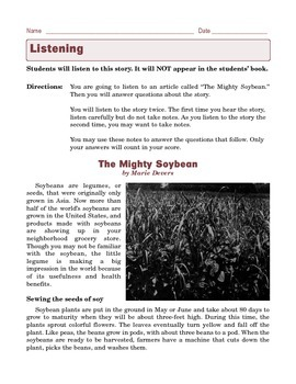 Grade 6 Common Core Listening Practice -- The Mighty Soybean