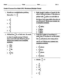 grade 6 common core math 6 ns 1 worksheet multiple choice by deb chen. Black Bedroom Furniture Sets. Home Design Ideas