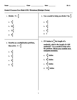 Grade 6 Common Core Math 6.NS.1 Worksheet (Multiple Choice)