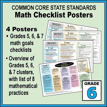 Grade 6 Common Core Math Communication Bundle (Posters, Goal Signs, Checklists)