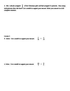 Grade 6 Common Core Math Module 2 Lessons 1-8 Quiz