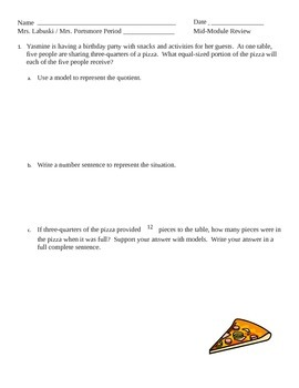Grade 6 Common Core Math Module 2 Lessons 1-11  Mid Module Review