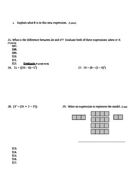 Grade 6 Common Core Math Module 4 Lessons 1-8 Quiz